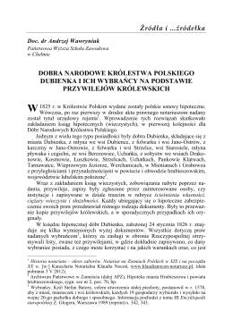 Dobra narodowe Królestwa Polskiego Dubienka i ich wybrańcy na