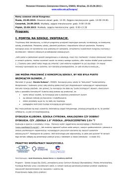 Program - Ogólnopolskie Stowarzyszenie Kadry Kierowniczej Oświaty