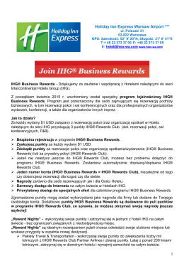 IHG BUSINESS REWARDS () - Holiday Inn Express Warsaw