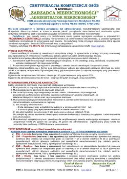 Komunikat o Certyfikacji Kompetencji Zarządcy