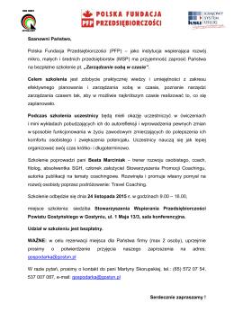 Program oraz informacje szczegółowe