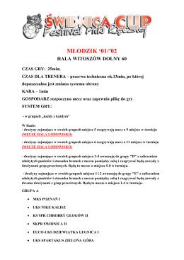Terminarz PDF - młodzik, Hala Witoszów Dolny 60