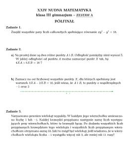 XXIV NUDNA MATEMATYKA klasa III gimnazjum – ZESTAW A