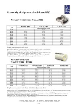 Przewody elastyczne aluminiowe DEC