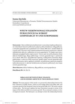 Joanna Spychała - studia oeconomica posnaniensia