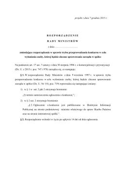 Projekt rozporządzenia Rady Ministrów zmieniającego