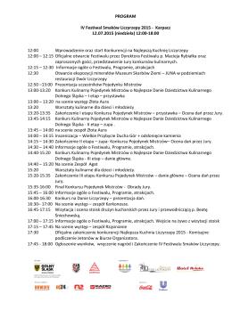 PROGRAM IV Festiwal Smaków Liczyrzepy 2015