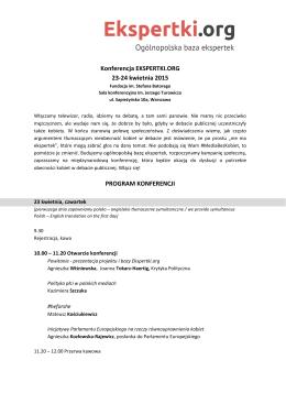Konferencja EKSPERTKI.ORG 23-24 kwietnia