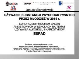 Używanie substancji psychoaktywnych przez młodzież w 2015 r.