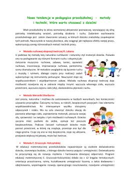 Nowe tendencje w pedagogice przedszkolnej