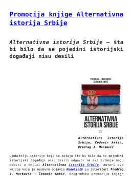 Promocija knjige Alternativna istorija Srbije