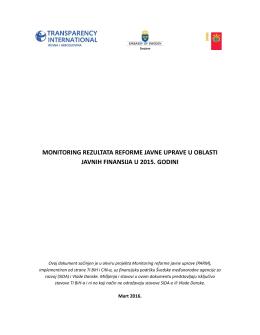 monitoring rezultata reforme javne uprave u oblasti javnih finansija u