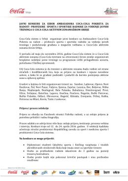 javni konkurs za izbor ambasadora coca-cola
