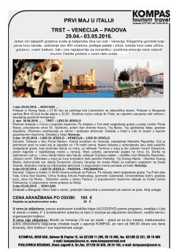 prvi maj u italiji trst – venecija – padova 29.04.