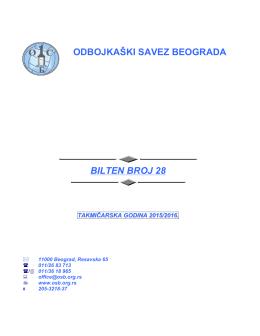 Bilten 28 (Bilteni Prvenstva Beograda)