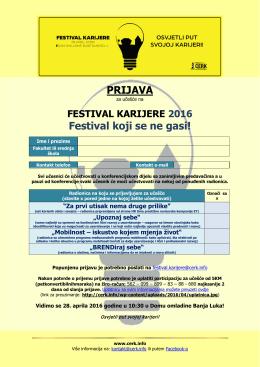 PRIJAVA Festival koji se ne gasi!