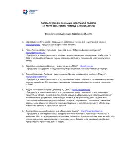Списак учесника делегације Јарославске области