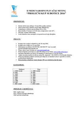 Propozicije II prolećnog kupa Subotice 2016
