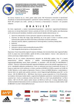 obavijest - Nogometni/fudbalski savez Bosne i Hercegovine