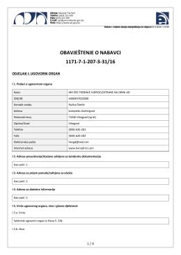 obavještenje o nabavci 1171-7-1-207-3-31/16