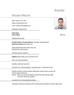 Biografija Miroslav Milinović