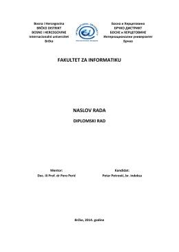 naslovna strana za diplomski rad