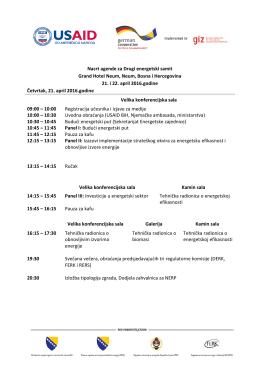 Nacrt agende za Drugi energetski samit Grand Hotel Neum, Neum