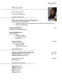 Biografija Marija Dodić