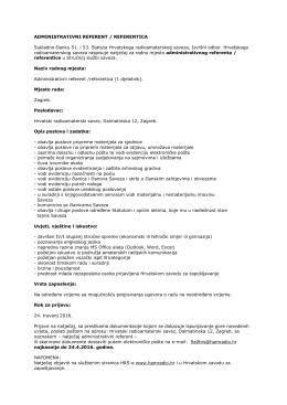Natječaj za radno mjesto administrativnog referenta / referentice u