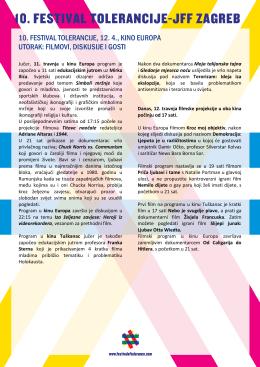Utorak, 12.4. - Festival tolerancije