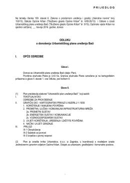 Prijedlog Odluke o donosenju UPU Baći za vijeće