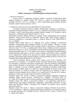 Obrazloženje uz donošenje Odluke o donošenju UPU Donadić