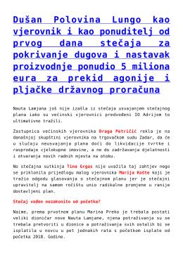 Dušan Polovina Lungo kao vjerovnik i kao ponuditelj od