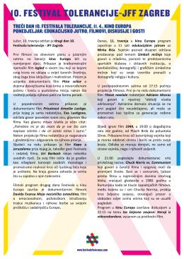 Ponedeljak, 11.4 - Festival tolerancije