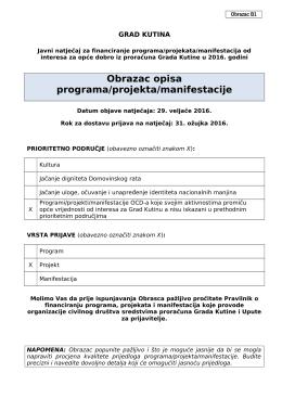 Opis projekta - udruga za zaštitu potrošača kutina