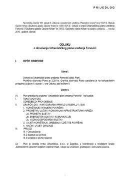 Prijedlog Odluke o donošenju UPU Fonovići za vijeće