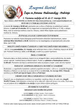 Podvinje 3. Vazmena nedjelja od 10. do 17. travnja 2016.