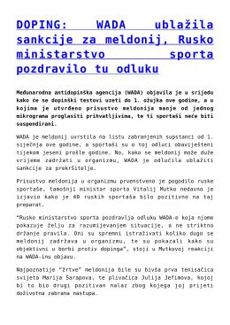 DOPING: WADA ublažila sankcije za meldonij, Rusko