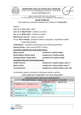 zapisnik - Građevinski fakultet Sveučilišta u Mostaru