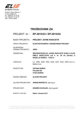 troškovnik za - Općina Baška