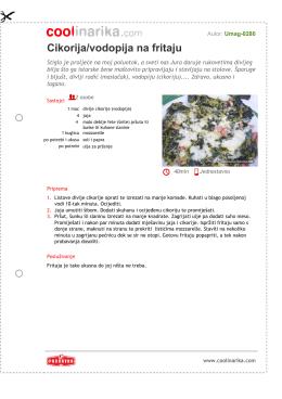 Cikorija/vodopija na fritaju