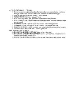 OPTO ELEKTRONIKA – PITANJA 1. Osnovne