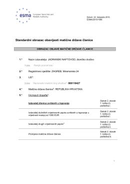 Standardni obrazac obavijesti matične države članice