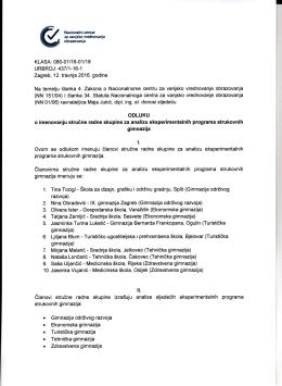 Odluka o imenovanju stručne radne skupine za analizu