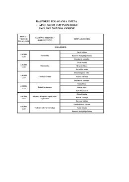 raspored polaganja ispita u aprilskom ispitnom roku školske 2015