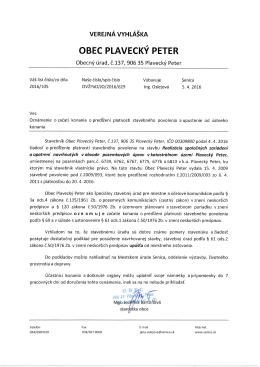 Verejná vyhláška - Oznámenie o začatí konania o predĺžení platnosti