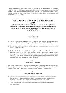 VZN č. 2/2016 o určení miesta a času zápisu dieťaťa