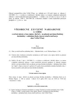 VZN č. 1/2016 o určení miesta a času zápisu dieťaťa