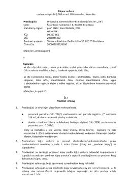 Kúpna zmluva - Univerzita Komenského