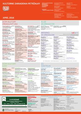 Mesačný program Kultúrnych zariadení Petržalka na apríl 2016